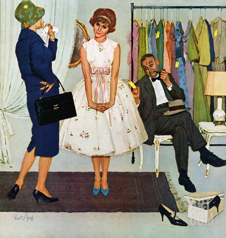 """First Prom Dress"", April 18, 1959 Stretched Canvas Print"