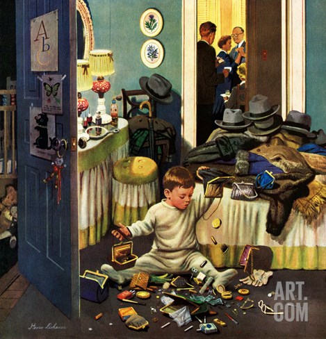 """Toddler Empties Purses"", November 22, 1952 Stretched Canvas Print"