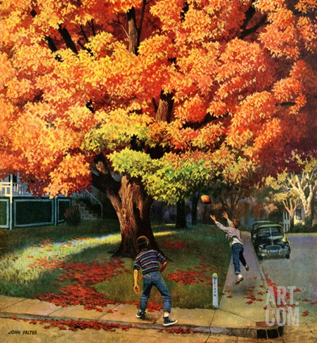 """""""Tossing the Football"""", October 27, 1956 Stretched Canvas Print"""