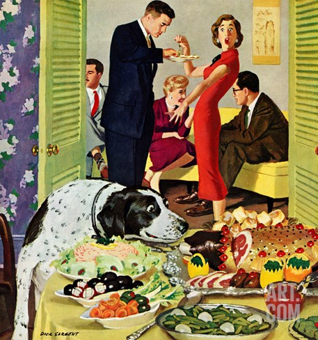 """Doggy Buffet"", January 5, 1957 Stretched Canvas Print"