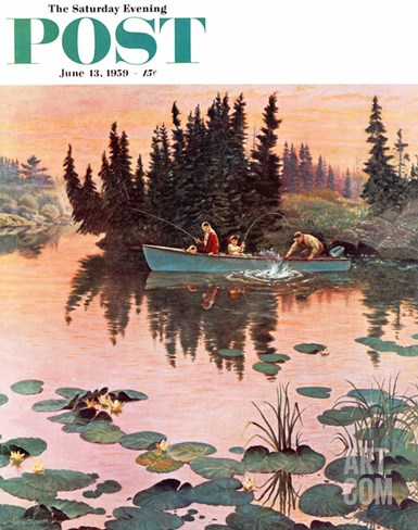 """A Fine Catch"" Saturday Evening Post Cover, June 13, 1959 Stretched Canvas Print"