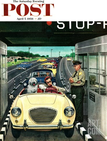 """Stop and Pay Toll"" Saturday Evening Post Cover, April 7, 1956 Stretched Canvas Print"