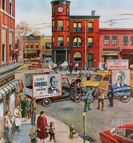 """""""Candidate Clash"""", November 12, 1955 Stretched Canvas Print"""