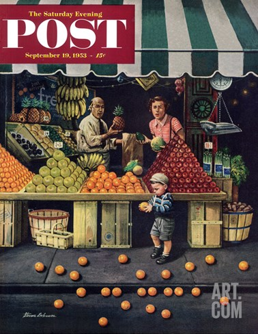 """Towddler and Oranges"" Saturday Evening Post Cover, September 19, 1953 Stretched Canvas Print"