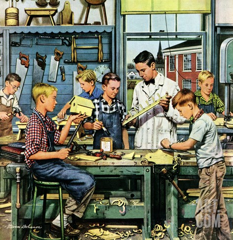 &quot;Shop Class&quot;, March 19, 1955 Stretched Canvas Print