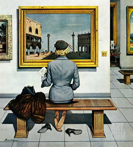 """Art Lover"", March 3, 1956 Stretched Canvas Print"