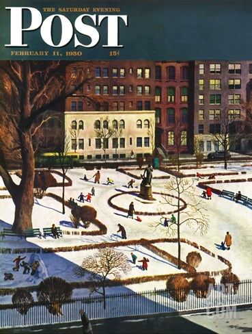 """Gramercy Park"" Saturday Evening Post Cover, February 11, 1950 Stretched Canvas Print"