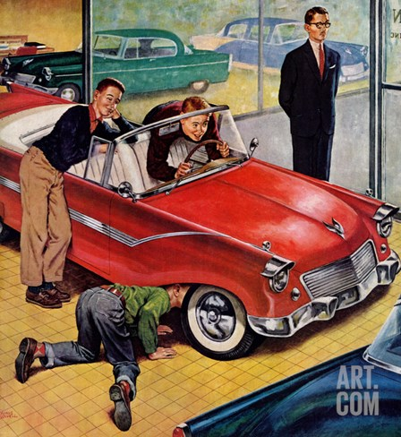 """Automobile Showroom"", December 8, 1956 Stretched Canvas Print"