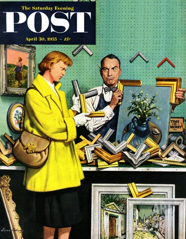"""Frame-Up"" Saturday Evening Post Cover, April 30, 1955 Stretched Canvas Print"