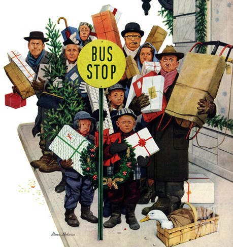 """Bus Stop at Christmas"", December 13, 1952 Stretched Canvas Print"