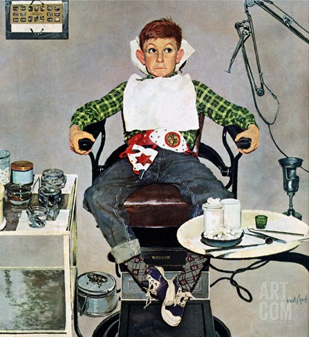 """In the Dentist's Chair"", October 19, 1957 Stretched Canvas Print"