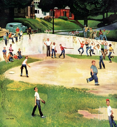 """Sandlot Homerun"", July 6, 1957 Stretched Canvas Print"