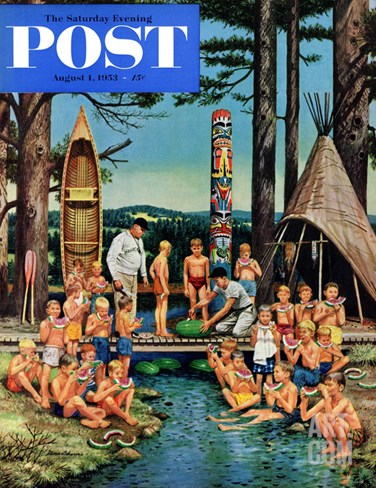 """Watermelon at Camp"" Saturday Evening Post Cover, August 1, 1953 Stretched Canvas Print"