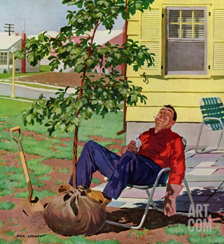 """Shade Tree"", April 12, 1958 Stretched Canvas Print"