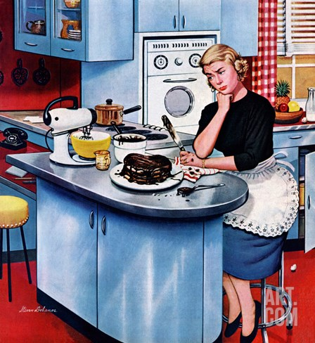"""First Cake"", May 21, 1955 Stretched Canvas Print"