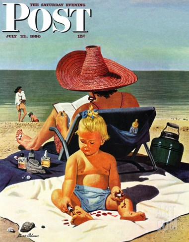 """Baby & Nail Polish"" Saturday Evening Post Cover, July 22, 1950 Stretched Canvas Print"