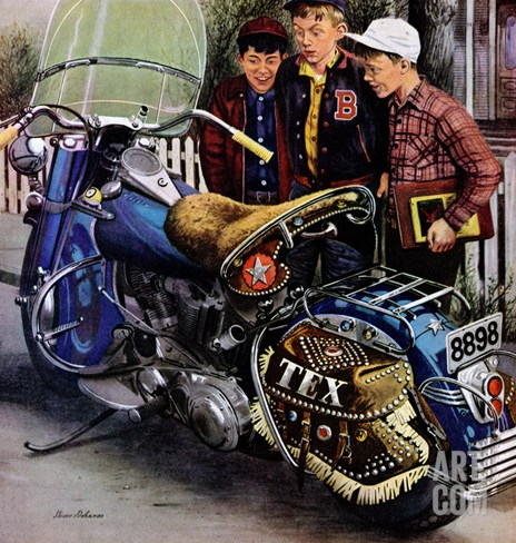 """Tex's Motorcycle"", April 7, 1951 Stretched Canvas Print"
