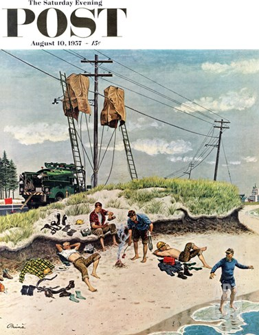 """Break Time"" Saturday Evening Post Cover, August 10, 1957 Stretched Canvas Print"