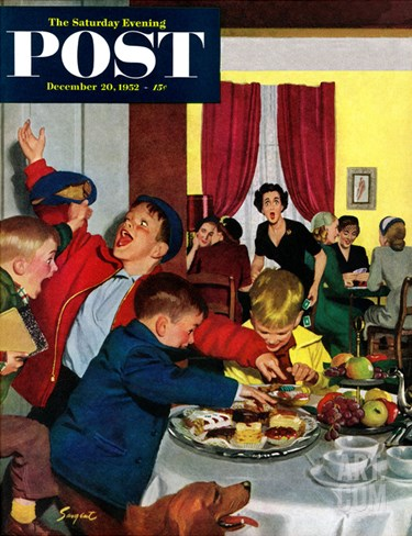 """Crashing Mom's Card Party"" Saturday Evening Post Cover, December 20, 1952 Stretched Canvas Print"