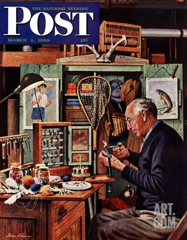 """Tying Flies"" Saturday Evening Post Cover, March 4, 1950 Stretched Canvas Print"