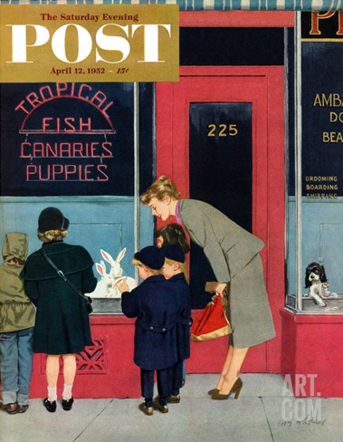 """Bunnies for Sale"" Saturday Evening Post Cover, April 12, 1952 Stretched Canvas Print"