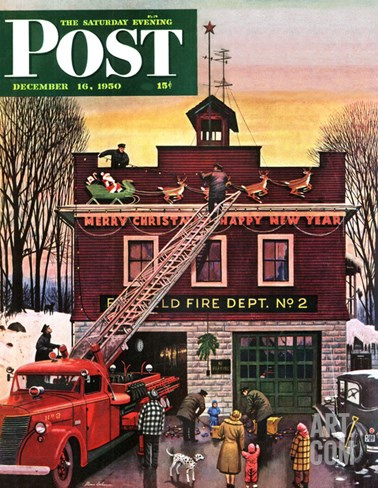 """Christmas at the Fire Station"" Saturday Evening Post Cover, December 16, 1950 Stretched Canvas Print"