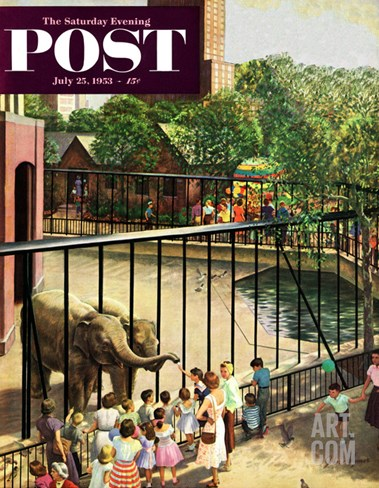 """""""Feeding the Elephants"""" Saturday Evening Post Cover, July 25, 1953 Stretched Canvas Print"""