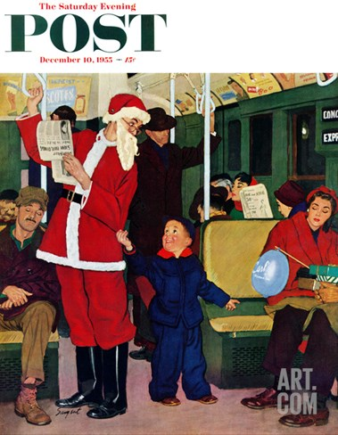 """Giving Santa His Seat"" Saturday Evening Post Cover, December 10, 1955 Stretched Canvas Print"