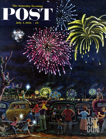 """Fireworks"" Saturday Evening Post Cover, July 4, 1953 Stretched Canvas Print"