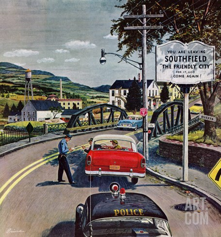 """""""Friendly City"""", June 9, 1956 Stretched Canvas Print"""