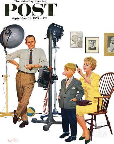 """At the Photographer"" Saturday Evening Post Cover, September 26, 1959 Stretched Canvas Print"