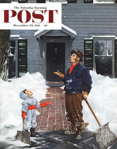 """More Snow?"" Saturday Evening Post Cover, December 29, 1951 Stretched Canvas Print"