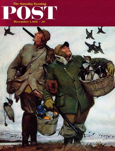 """Nothing but Decoys"" Saturday Evening Post Cover, December 1, 1951 Stretched Canvas Print"