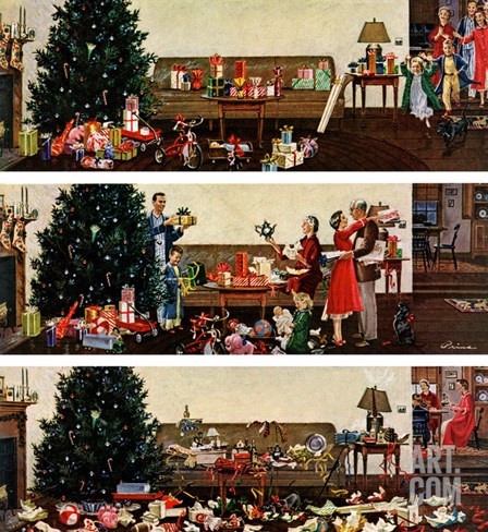 """Christmas Morning"", December 27, 1958 Stretched Canvas Print"