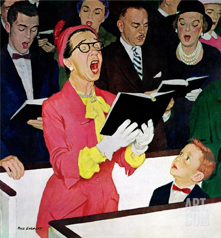 """Singing Praise"", March 7, 1959 Stretched Canvas Print"