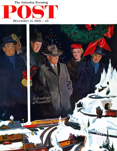 """Christmas Train Set"" Saturday Evening Post Cover, December 15, 1956 Stretched Canvas Print"
