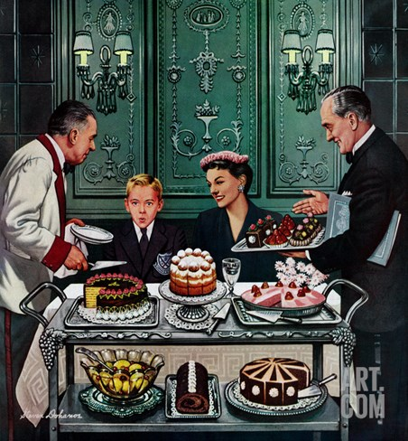 """Dessert Cart"", January 1, 1955 Stretched Canvas Print"