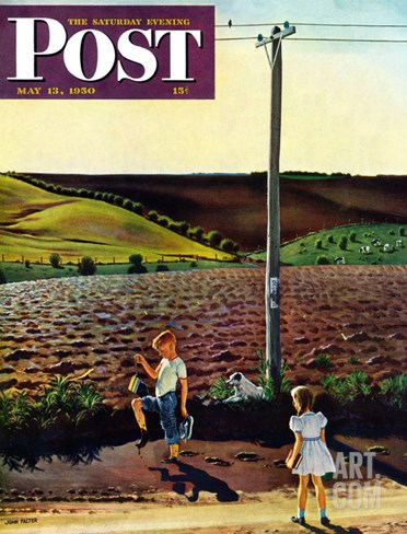 """Muddy Walk Home"" Saturday Evening Post Cover, May 13, 1950 Stretched Canvas Print"