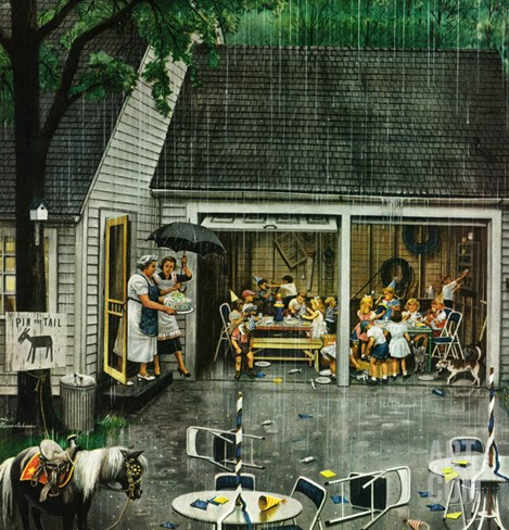 """Rain-out Birthday Party"", May 22, 1954 Stretched Canvas Print"