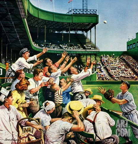"""Catching Home Run Ball"", April 22, 1950 Stretched Canvas Print"