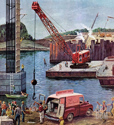 """Bridge Construction"", March 9, 1957 Stretched Canvas Print"