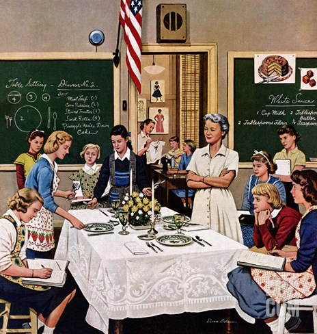 """Setting the Table"", February 16, 1957 Stretched Canvas Print"