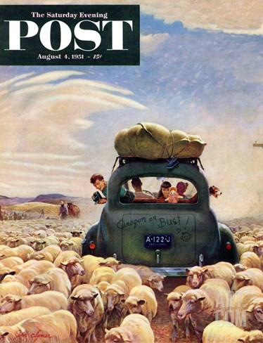 """Oregon or Bust"" Saturday Evening Post Cover, August 4, 1951 Stretched Canvas Print"