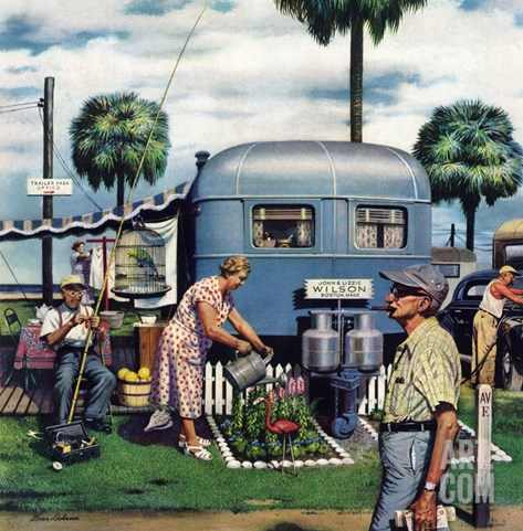 """Trailer Park Garden"", February 2, 1952 Stretched Canvas Print"