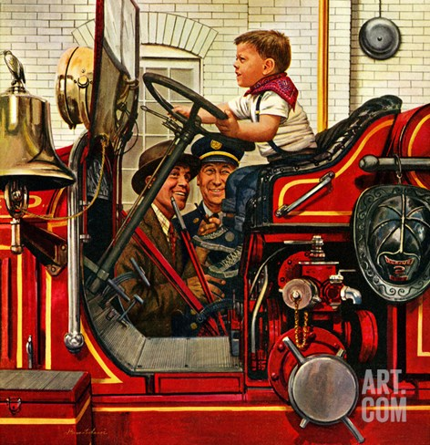 """Boy on Fire Truck"", November 14, 1953 Stretched Canvas Print"
