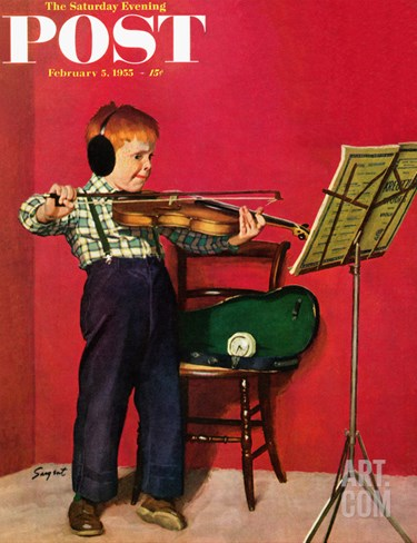 """Violin Practice"" Saturday Evening Post Cover, February 5, 1955 Stretched Canvas Print"