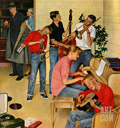 """Jam Session"", October 23, 1954 Stretched Canvas Print"