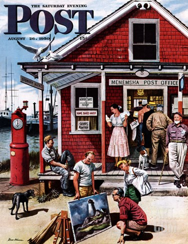 """Coastal Postal Office"" Saturday Evening Post Cover, August 26, 1950 Stretched Canvas Print"