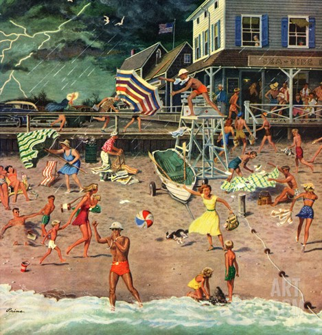 """Thunderstorm at the Shore"", July 10, 1954 Stretched Canvas Print"