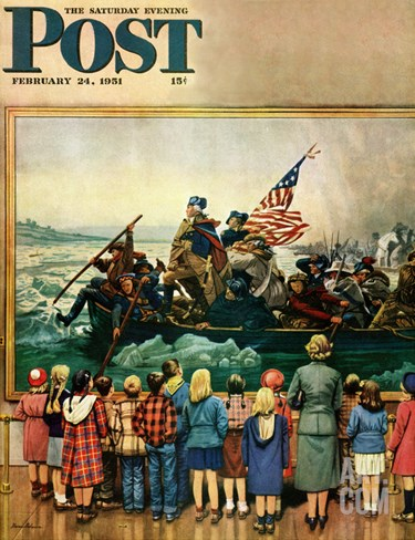 """Washington Crossing the Delaware"" Saturday Evening Post Cover, February 24, 1951 Stretched Canvas Print"